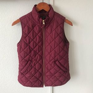 Used, J. Crew Quilted Vest in Burgundy for sale